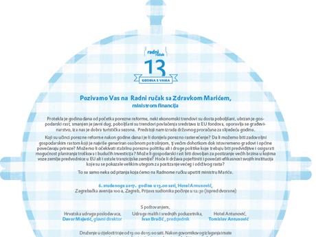 6.11.2017. Radni ručak s ministrom Zdravkom Marićem, Hotel Antunović, Zagreb, 13:00